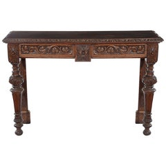 Late 19th Century Carved Oak Side Table with Two Fitted Drawers