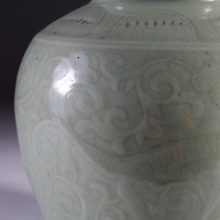 Late 19th Century Celadon Vase as a Table Lamp, with Giltwood Base In Good Condition For Sale In London, GB
