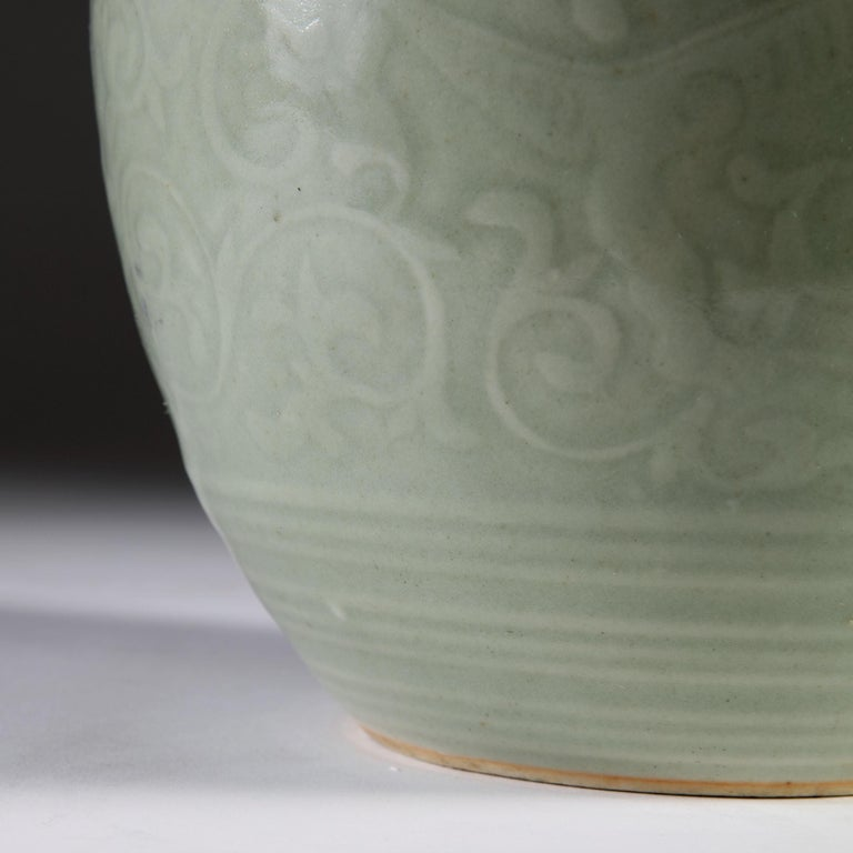 Late 19th Century Celadon Vase as a Table Lamp, with Giltwood Base For Sale 1