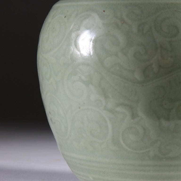 Late 19th Century Celadon Vase as a Table Lamp, with Giltwood Base For Sale 2
