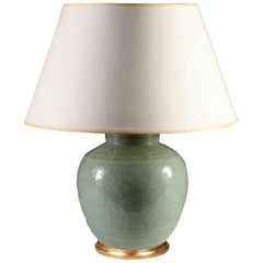 Late 19th Century Celadon Vase as a Table Lamp, with Giltwood Base