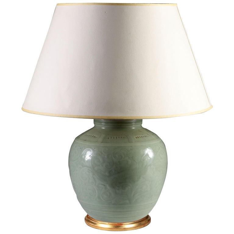 Late 19th Century Celadon Vase as a Table Lamp, with Giltwood Base For Sale