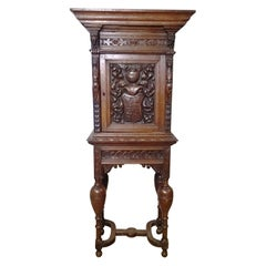 Late 19th Century Continental Carved Oak Cabinet on Stand