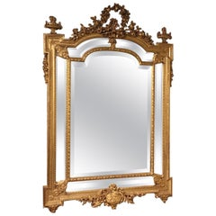 Late 19th Century French Carved Gilt-Wood Margin Mirror
