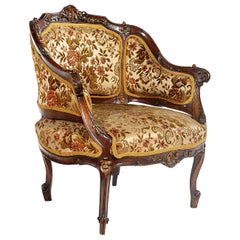 Late 19th Century French Louis XV Style Walnut Framed Petite Bergère Chair