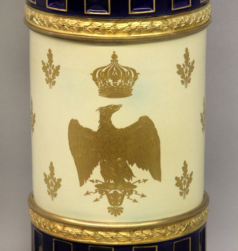 Late 19th Century Gilt Bronze Mounted Sèvres Style Napoleon Vase and Pedestal For Sale 5