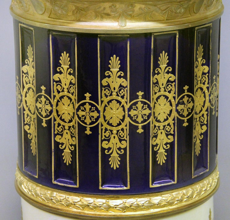 Late 19th Century Gilt Bronze Mounted Sèvres Style Napoleon Vase and Pedestal For Sale 6