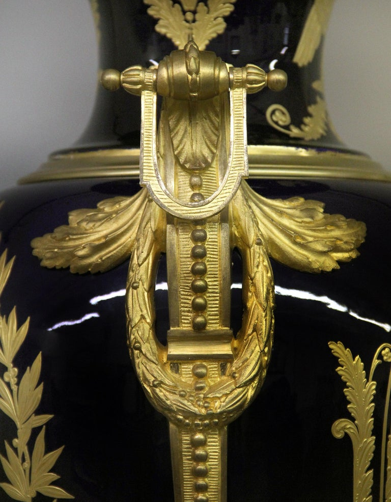 Late 19th Century Gilt Bronze Mounted Sèvres Style Napoleon Vase and Pedestal For Sale 2