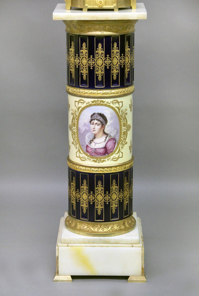 Late 19th Century Gilt Bronze Mounted Sèvres Style Napoleon Vase and Pedestal For Sale 3