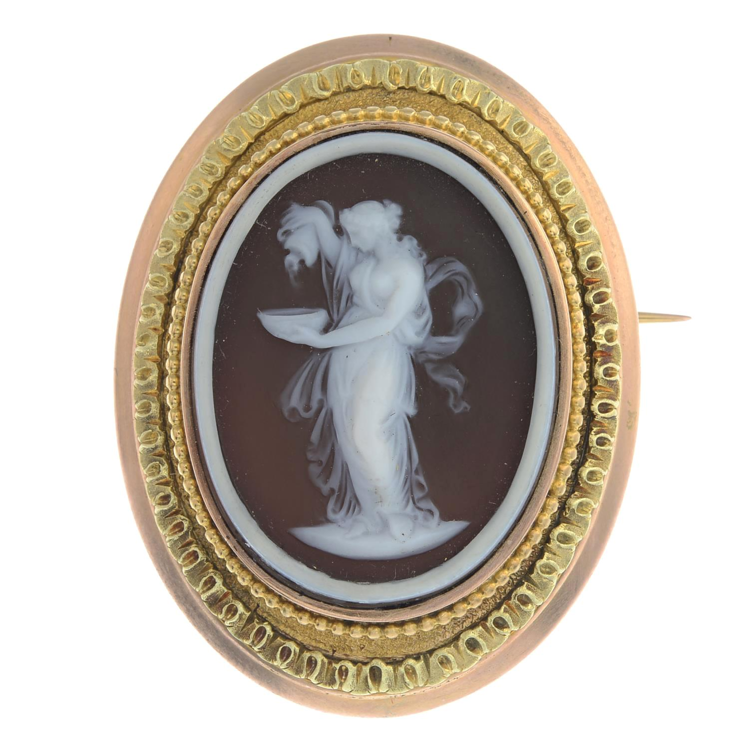Late 19th Century Gold Onyx Cameo Brooch