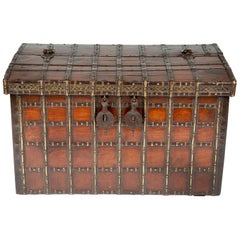 Late 19th Century Iron Bound Teak Haveli Trunk