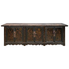 Late 19th Century Long Black Lacquered Sideboard from Shanxi, China