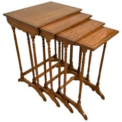 Late 19th Century Nest of Satinwood Quartetto Tables