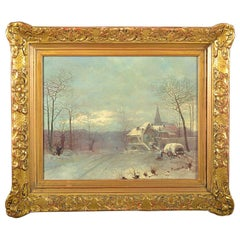 Late 19th Century Oil on Canvas Depicting a Winter Scene