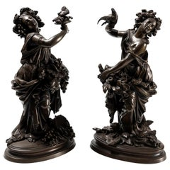 Late 19th Century Pair of French Bronze Allegorical Figures of Autumn & Spring