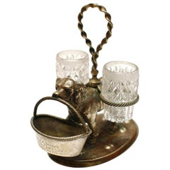 A Late 19th Century Scottish Victorian Silver Plate Retriever Double Cruet Set