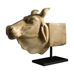 Late 19th Century White Marble Sculpture of an Indian Nandi Bull