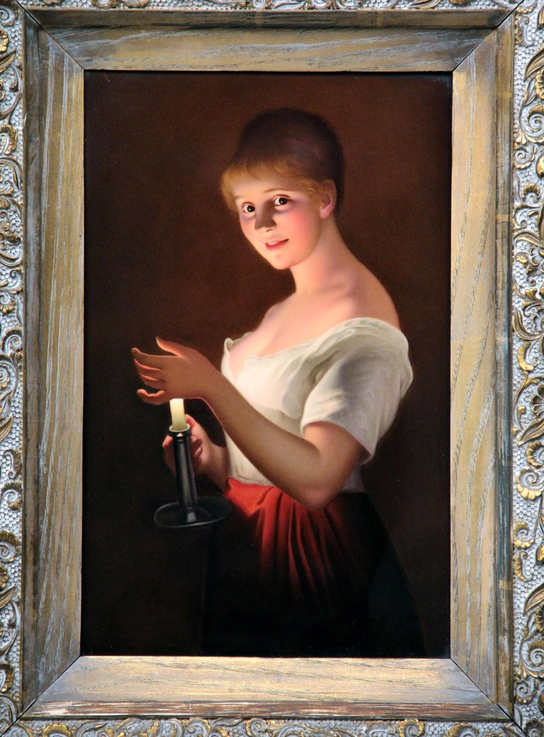 A late 19th-early 20th century Berlin K.P.M. Porcelain rectangular plaque, entitled 'Gute Nacht'  Finely painted after G. Hom with a three-quarter length portrait of a maiden holding a chamberstick and shielding the light with her