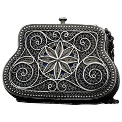 Late 19th-Early 20th Century Russian Silver Filigree Coin Purse