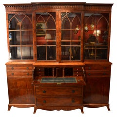 Late George iv English Mahogany Breakfront Bookcase/ Desk/ Chest of Drawers