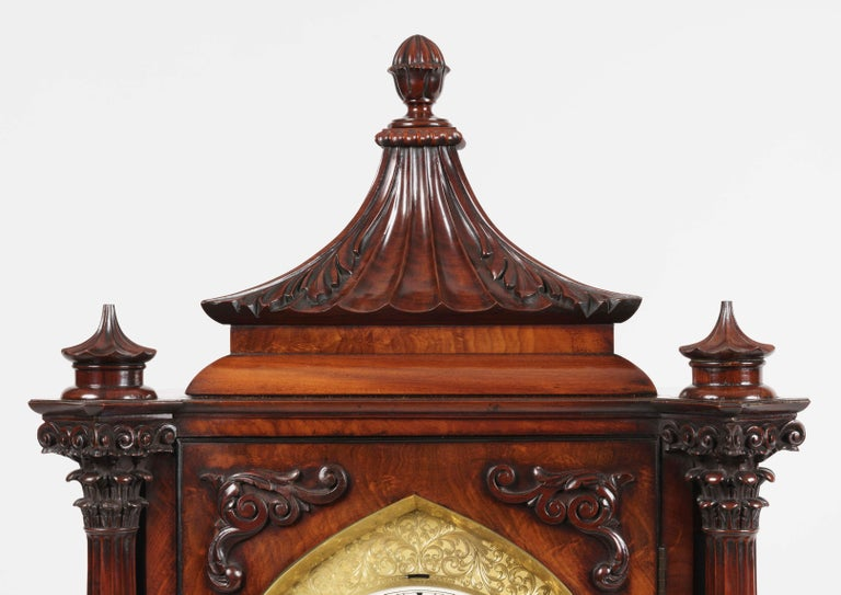 English Late Georgian Mahogany Musical Table Clock For Sale