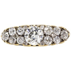Late Victorian 15ct Gold Old-Cut Diamond Dress Ring, with Scrolling Gallery an