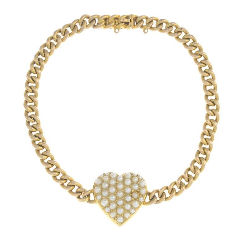 Late Victorian Gold Split Pearl Bracelet For Sale