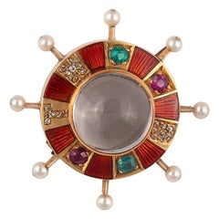 Late Victorian Moonstone Diamond Ruby Emerald and Pearl Brooch