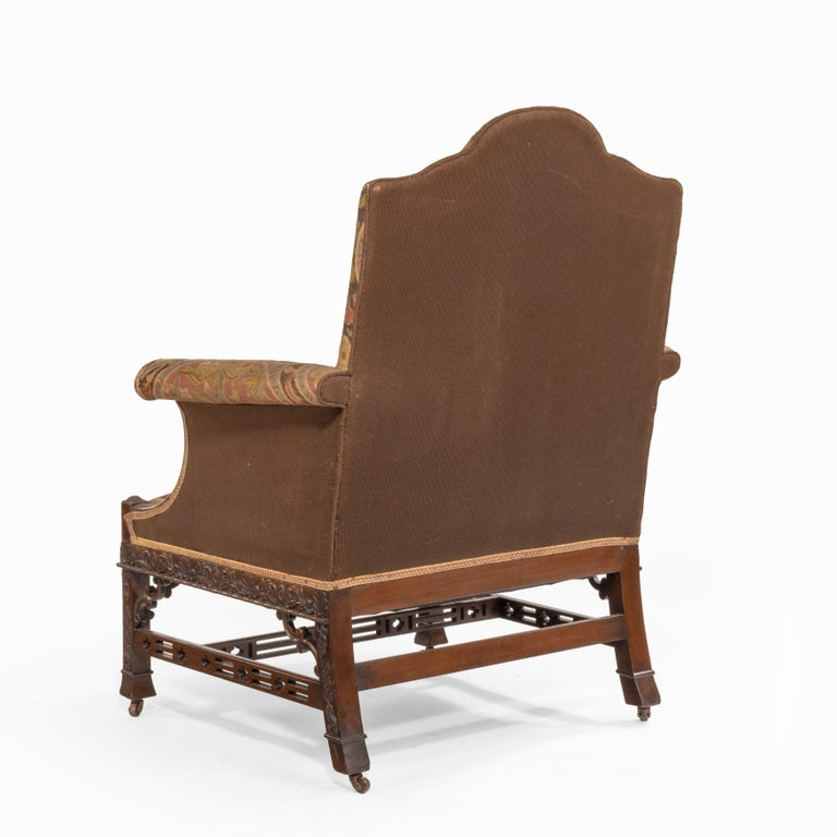 Late Victorian Oversized Armchair in the Chippendale Manner In Good Condition For Sale In Lymington, Hampshire