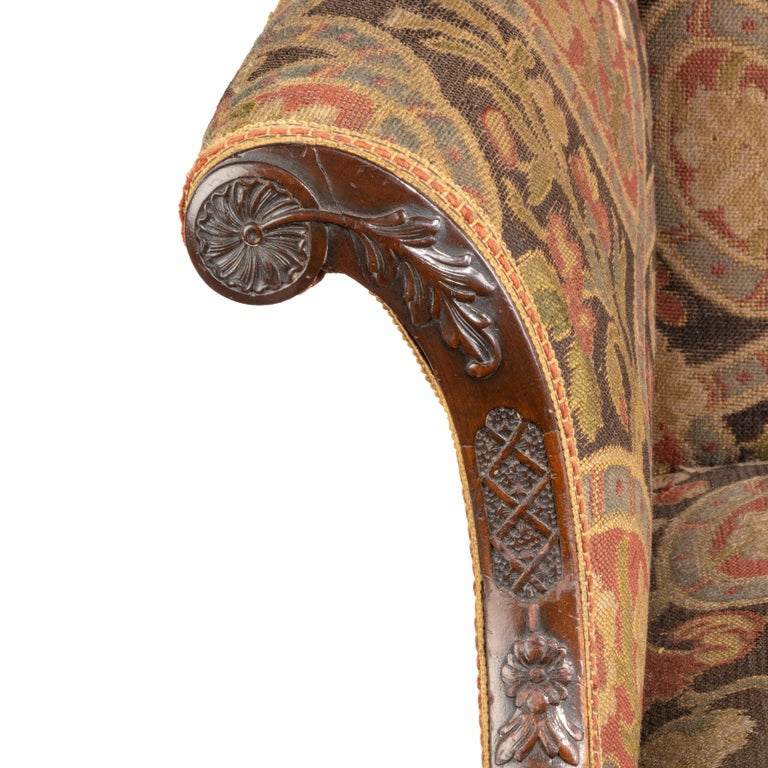 Mahogany Late Victorian Oversized Armchair in the Chippendale Manner For Sale