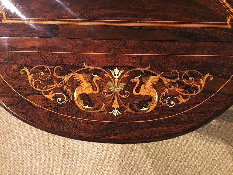Late Victorian Period Marquetry Inlaid Triangular Occasional Table In Good Condition For Sale In Darwen, GB
