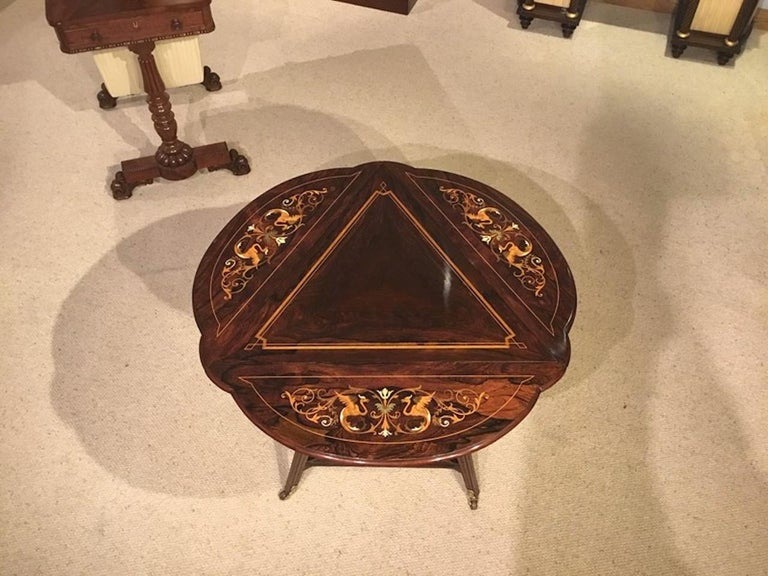 Late 19th Century Late Victorian Period Marquetry Inlaid Triangular Occasional Table For Sale