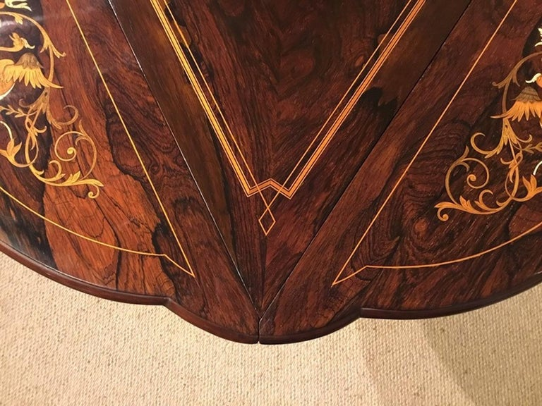 Late Victorian Period Marquetry Inlaid Triangular Occasional Table For Sale 3