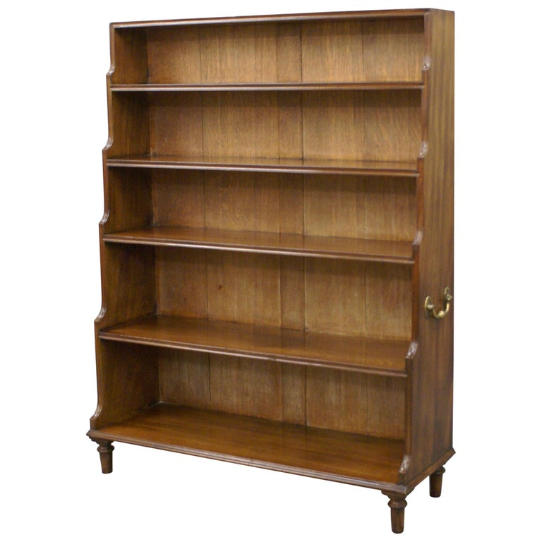 Later George III Period Mahogany Waterfall Open Bookcase