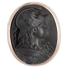 Lava Cameo Minerva Brooch circa 1870's