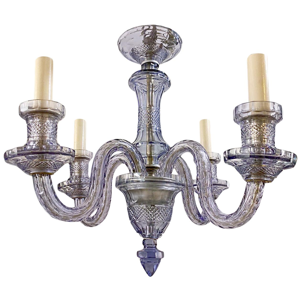 A Lavender Cut Glass Chandelier