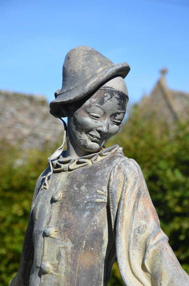 English Lead Figure of Pierrot by Gertrude Knoblock, 1880-1964