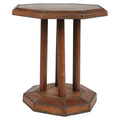 Leather Wrapped Side Table