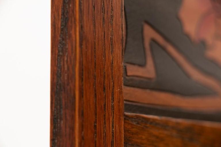 Early 20th Century Art Nouveau Liberty & Co. Oak Arts & Crafts Three Fold Screen For Sale 4