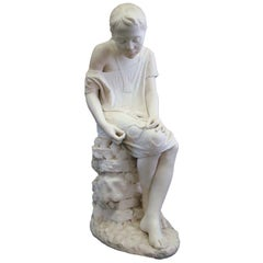 """A Life Size Marble by Salvatore Albano """"Girl Sewing"""""""