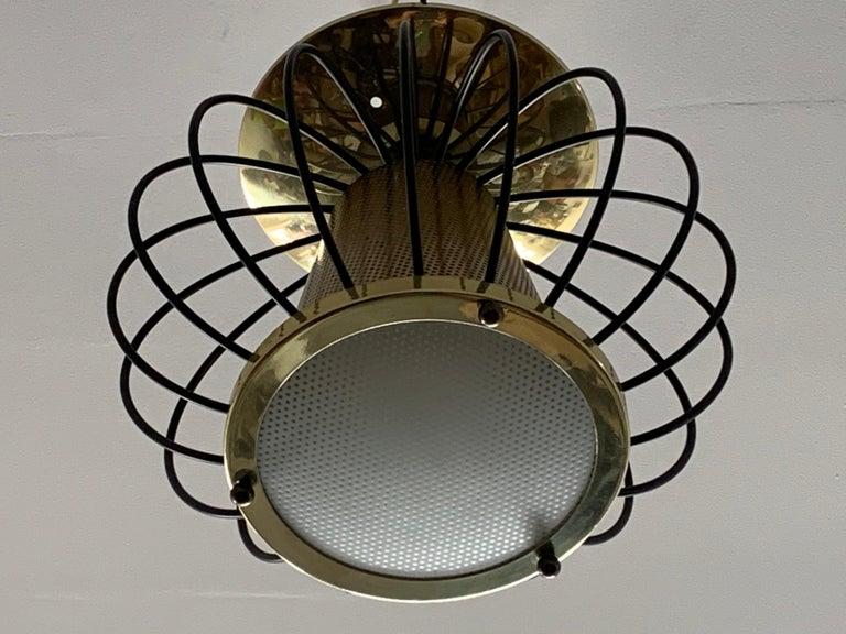 Brass Lightolier Pendant Chandelier For Sale