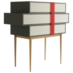 A-Line Dresser, dark and soft Gray Minimalist sculpture, Red Opalescent Handles