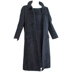 A-Line Silk Matelassé Shift Dress and Coat, 1960s