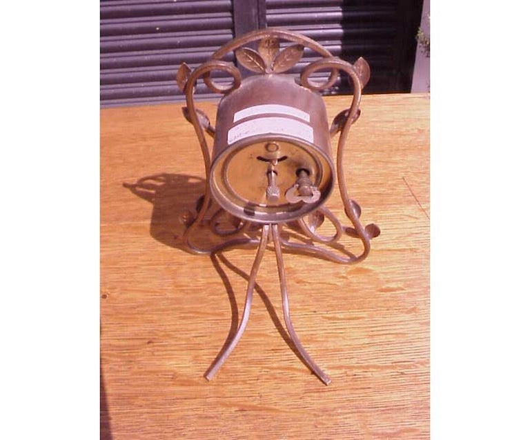 Hand-Crafted Little Arts and Crafts Mantle/Bedside Clock With Hand Formed Copper Leaves For Sale