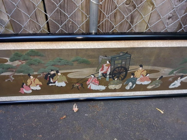Meiji A l=Large Antique Horizontal Japanese Painting For Sale