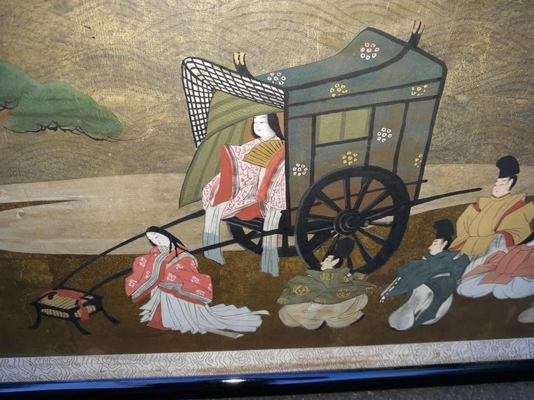 A l=Large Antique Horizontal Japanese Painting In Good Condition For Sale In Lambertville, NJ