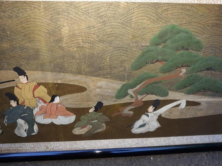 Glass A l=Large Antique Horizontal Japanese Painting For Sale