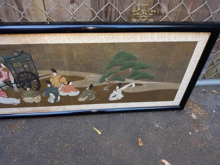 A l=Large Antique Horizontal Japanese Painting For Sale 1