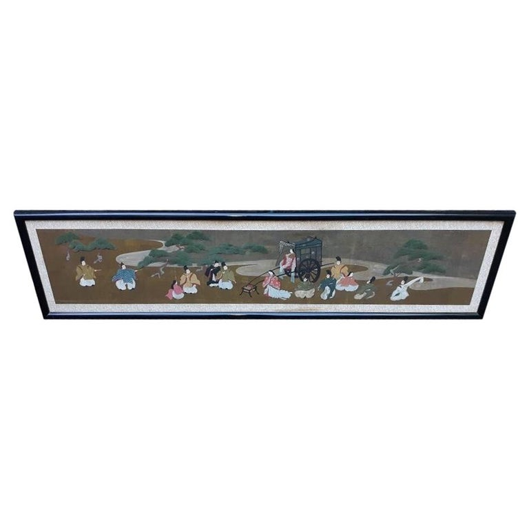 A l=Large Antique Horizontal Japanese Painting For Sale