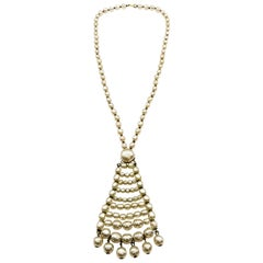 A long baroque pearl pendant necklace, Miriam Haskell, 1960s